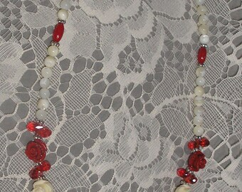 Red & White Coral Necklace with Mother of Pearl