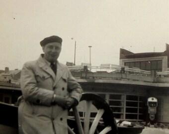Vintage Black & White Photo - Man Stood by a Boat
