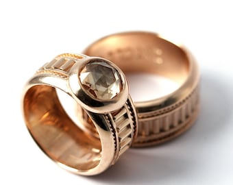 14k rose gold ring set, Wedding set, Personalized wedding Bands, promise rings, engagement ring set or wedding ring, Gold matching bands