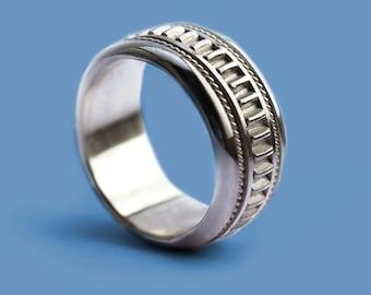 Wedding silver ring, mens wedding band, modern ring, filigree ring for man, man jewelry, handmade ring, wedding bands