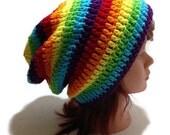 Rainbow Slouchy Hat, Ombre Rainbow Hat, Rainbow Beanie, Rainbow Hat, Festival Hat, Hipster Beanie, Rainbows, Kawaii Rainbow, Rainbow Pride