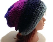 Ombre Slouchy Hat, Hippie Hat, Purple Ombre Hat, Hipster Beanie,  Festival Clothing, Boho Hat, Slouchy Hat, Womens Winter Hat, Ombre Beanie