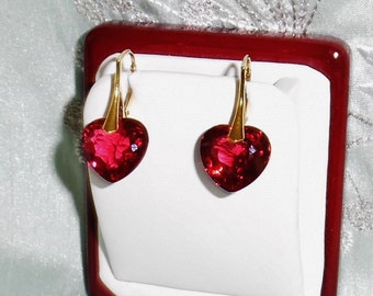 Natural 32 cts Heart Red Topaz gemstones, 14kt yellow gold leverback Pierced Earrings