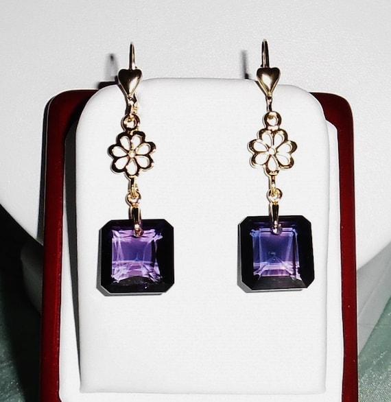 32cts Emerald cut Russian Alexandrite stones, 14kt gold leverback Pierced Earrings