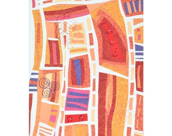 "Textile art  ""Passages"" 18"" x 24"" artwork fiber art wall hanging abstract orange pink purple red"