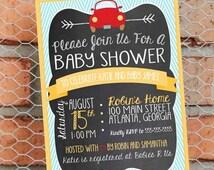 Transportation Baby Shower Invitation - Transportation Baby Sprinkle - Car - Baby Boy - Customize - Printable - 5x7 inch - Aqua and Yellow