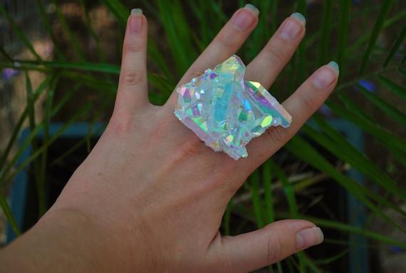 Hologram Angel Aura Quartz Cluster Ring
