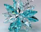"m/w SWAROVSKI CRYSTAL ""Splash Of Color"" Aqua & Clear Star Burst Car Charm SunCatcher Includes Elements Tag for Authenticity, PearlPlaceNMore"