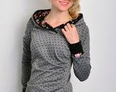 jersey hoodie - grey - flowers - polka dots