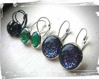 All That Glitters Sparkle Glass Tile  Drop Earrings