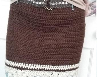 Brown Cream and Blue Crochet Skirt