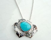 SALE - Hawaiian Poppy Necklace with Blue Gem Turquoise, Sterling Silver Pendant and Chain, Tropical Gift, OOAK