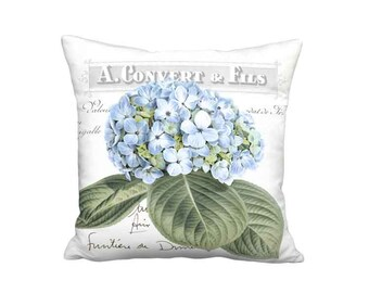 Blue Hydrangea Pillow Cover - Blue Botanical French Cottage Flower Pillow - 16x 18x 20x 22x 24x 26x Inch Linen Cotton Cushion Cover
