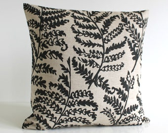 Linen Pillow Cover, 16 Inch Pillow Cover, Fern Pillow Cover, 16x16 Pillow Sham, Cushion Cover, Throw Pillow Cover - Fern Black