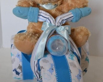 Trike Motorcycle Diaper Cake Baby Shower Gift, Baby Cake, Tricycle, 3-Wheeler ATV Teddy Bear,  Baby Boy ,Centerpiece,