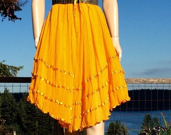 Vintage MARIGOLD Yellow Gauze Crochet Boho Sun Dress OS