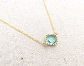 Sparkling Ocean Blue Necklace in Gold. Adjustable 16-18 inches