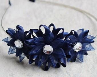 Navy Blue Headband, Navy Blue Flower Headband, Navy Blue Hair Accessories, Navy Blue Hair Piece, Navy Blue Bridesmaid Hair Accessory