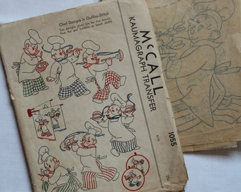 Vintage 1940's McCall Kaumagraph Transer 1055 Chef Designs Vintage 1940's McCall Transfer