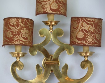 Vintage Italian Sconce Light - Authentic FORTUNY Fabric Shades  - Exquisite Handmade Vintage Lighting  - Pillow