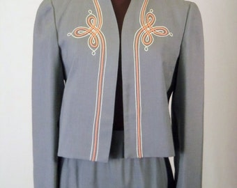 Vintage 70's Women's Skirt Suit 2 Piece Gray Embroidered Design Size S / Small