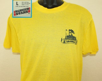 Arabia steamboat vintage t-shirt M/L yellow Screen Stars 80s 1989 Kansas City Missouri River