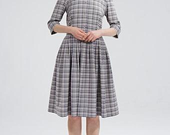 1950s wool dress Winter wool dress Long sleeve dress Wool midi dress Grey shirt dress Knee length dress Dress with pockets Handmade