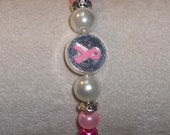 Pink & White Faux Pearl Breast Cancer Bracelet with Silver Toned Accents
