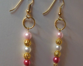 Pink Faux Pearl Earrings with Gold Toned Accents