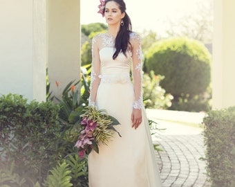 Ivory white Alecon lace bridal sash, flower wedding belt sash, floral bridal belt ALANNA