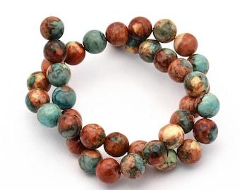 60 Jade Beads 3mm Dyed Desert Tones Gemstone Beads - BD949