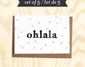 OHLALA Set of 5 greetings card w/ envelopes