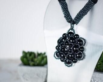 Black Statement Beaded Pendant Necklace
