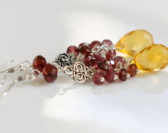 CITRINE ///Citrus Citrine and Deep Red Garnet with Bali Silver Chandelier Earrings///
