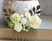 Flower Hair Comb Light Green and Cream Rose Bridal Hair Comb Hair Piece for Bride Branch Floral Hair Accessories Romantic Woodland Wedding