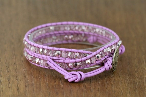 wrap bracelet, adjustable, orchid luster and lilac, beaded leather double wrap, boho chic, artisantree