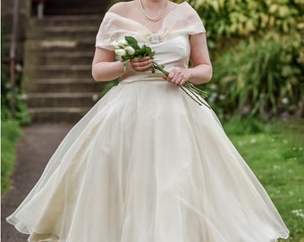 """SALE! Cream Silk Organza and Satin """"Emma""""  Vintage Look Bridal Gown. Tea Length, Circle Skirt, Off the Shoulder, 1950s Retro Style."""