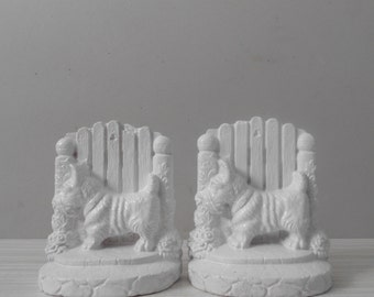 vintage pair of white scottie dog bookends / set / gift for dog lover