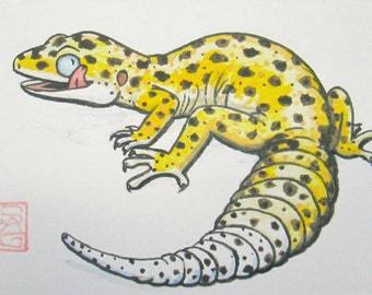 ACEO Leopard Gecko - Archiva Print - Watercolor Lizard Art