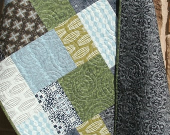 Unique Baby Boy Quilt, Curious Nature, Earth Tones, Modern Blanket, Slate Blue Green Gray Black, Parson Grey, Nursery Crib Cot Bedding