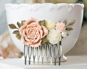 Blush Pink Wedding Bridal Hair Comb Blush Pink Ivory Rose Flower Brass Leaf Branch Pearl Collage Filigree Hair Comb Bridesmaid Gift
