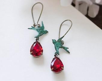 Verdigris Teal Blue Swallow Bird Siam Ruby Red Teardrop Glass Jewel Earrings Patina Bird Rustic Vintage Wedding Earrings Valentines day gift