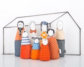 Modern 3-D family ,Dollhouse dolls - Handmade SMALL Dolls ,Grandparents, parents & children -in Geometric shades of orange blue, 12th scale