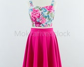 Circle skirt in hot pink