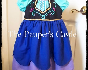 Girls/Child's/Toddler Casual Cotton Pull Over Disney Frozen Princess Anna Dress / Costume