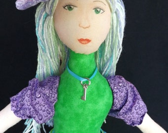 Cloth Art Doll - Green Blue and Purple in Dragonfly Skirt - OOAK