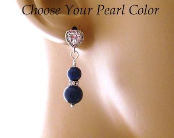 Lapis Blue CZ Earrings, Cubic Zirconia Blue Bridal Earrings: Wedding Jewelry, Special Occasion Earrings, Pearl Earrings, Sterling Silver