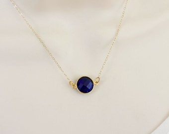 Dainty Birthstone Necklace, Delicate Gold Necklace, Sapphire Necklace, Simple Minimal Necklace, Gold Filled Birthstone Necklace, Minimalist