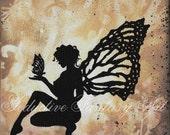NEW! Fairy Art Print, Silhouette Fairy with Butterfly, 6x6 Giclee Fantasy Art Print by Tammi Rodman Fasick