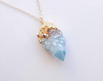 Aqua Aura Necklace - Spirit Quartz Necklace - Cactus Quartz - Drusy Necklace - Top Selling OOAK Jewelry
